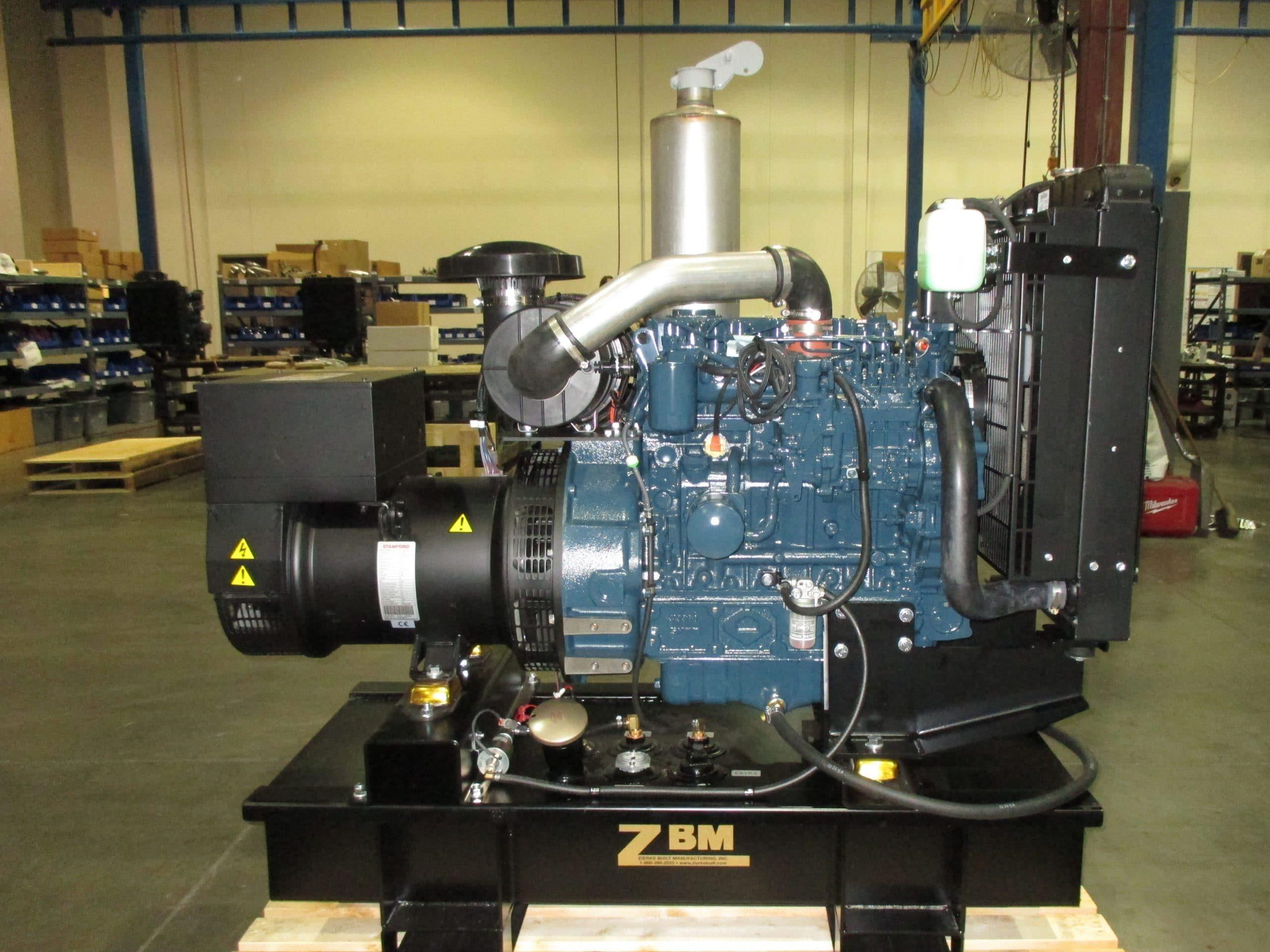 V3300BG Kubota powered 30KW, 3ph. generator on a sub-base fuel tank