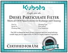 DPF certificate from Kubota
