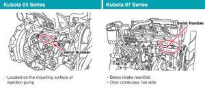 Kubota 03 series and Kubota 07 series serial number information