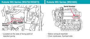 Kubota WG Series WG752 WG972 WG1605 serial number information
